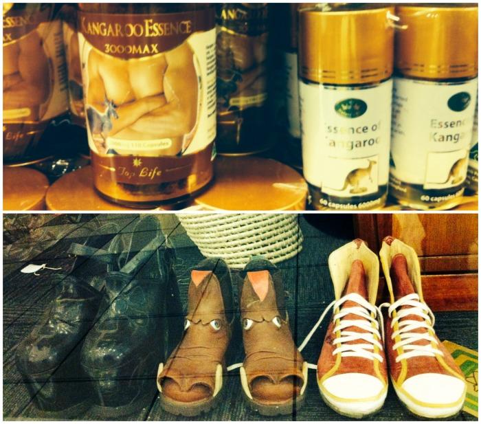In alto: creme all' estratto di canguro. Sotto: scarpe di pelle per gusti audaci. | JustReadTheWorld