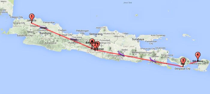 Il mio itinerario in Indonesia su mappa.
