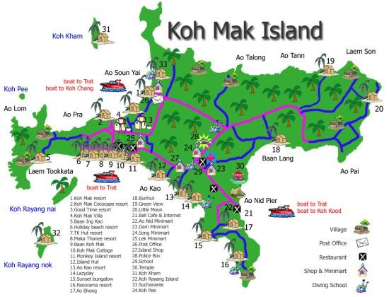 Mappa di Koh Mak - Foto credit: koh-mak-property.com.